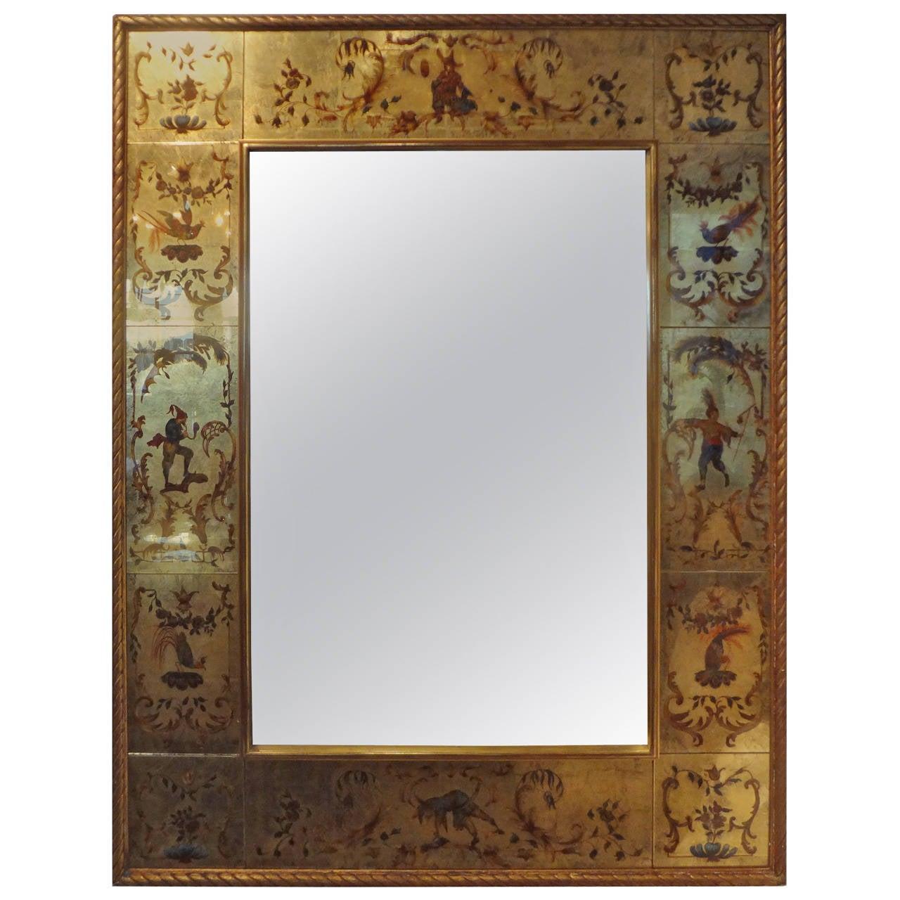 French Maison Jansen Style Verre Églomisé Mirror, 1940s (51 x 38 )
