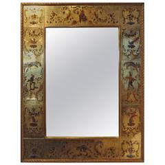 French Maison Jansen Style Gilt  Églomisé Mirror, 1940s (51 x 38 )