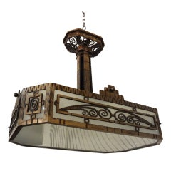 French Art Deco Wrought Iron Chandelier by Piguet