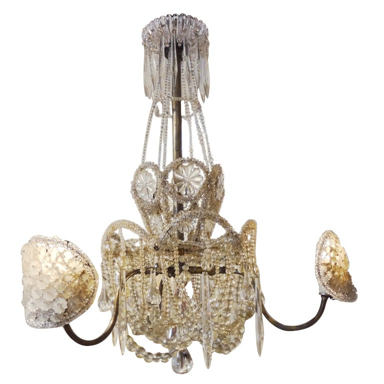 Early Bacarrat Bronze Beaded And Crystal Chandelier At 1stdibs