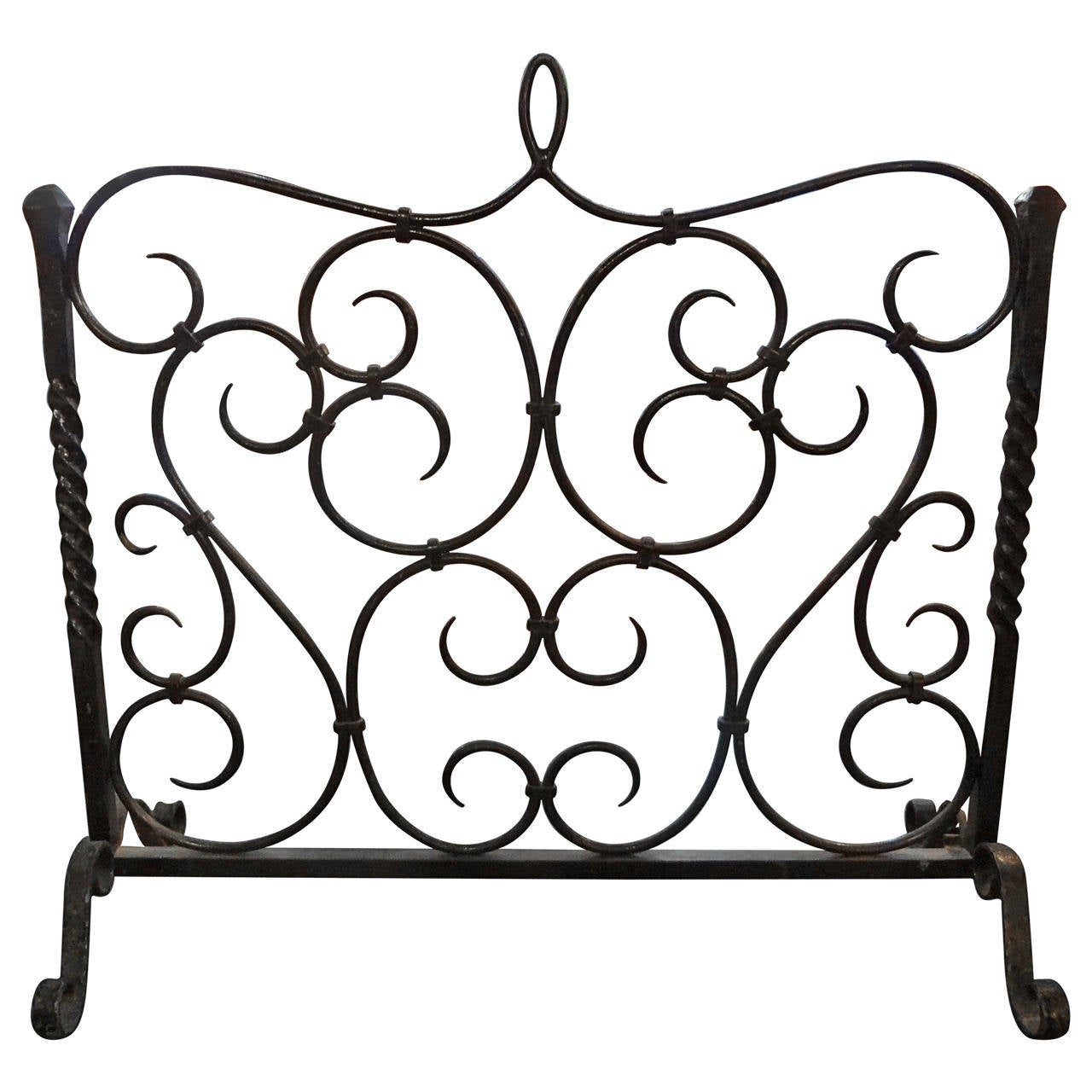 Antique French Wrought Iron Fire Screen At 1stdibs