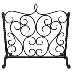 Antique French Wrought Iron Fire Screen