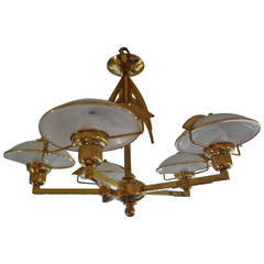 Italian Mid Century Modern Stillovo Style Five-Light Brass and Glass Chandelier