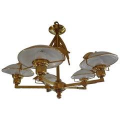 Italian Mid Century Modern Stillovo Style Five-Light Brass and Glass Chandelier