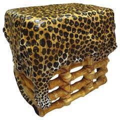 Italian Glazed Terracota Leopard Stool