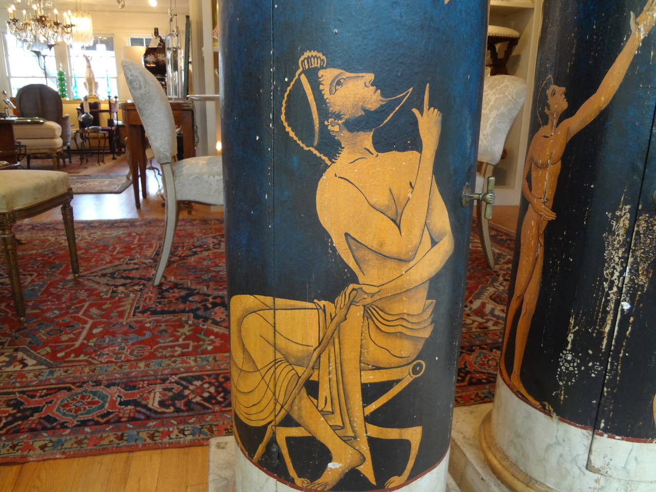 Hand-Painted Pair Of Antique Italian Neoclassical Style Painted Column Pedestal Cabinets For Sale