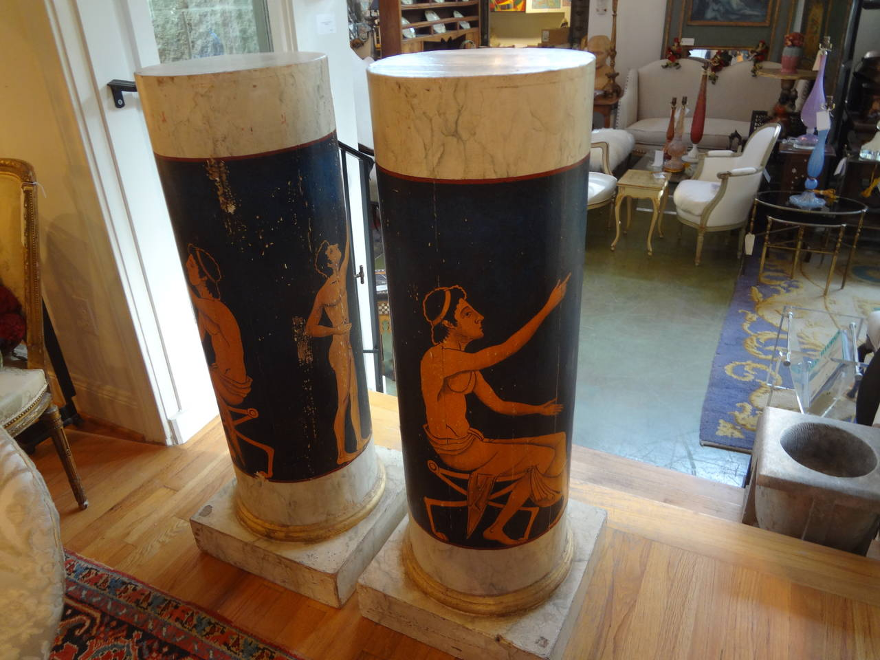 Pair Of Antique Italian Neoclassical Style Painted Column Pedestal Cabinets In Good Condition For Sale In Houston, TX