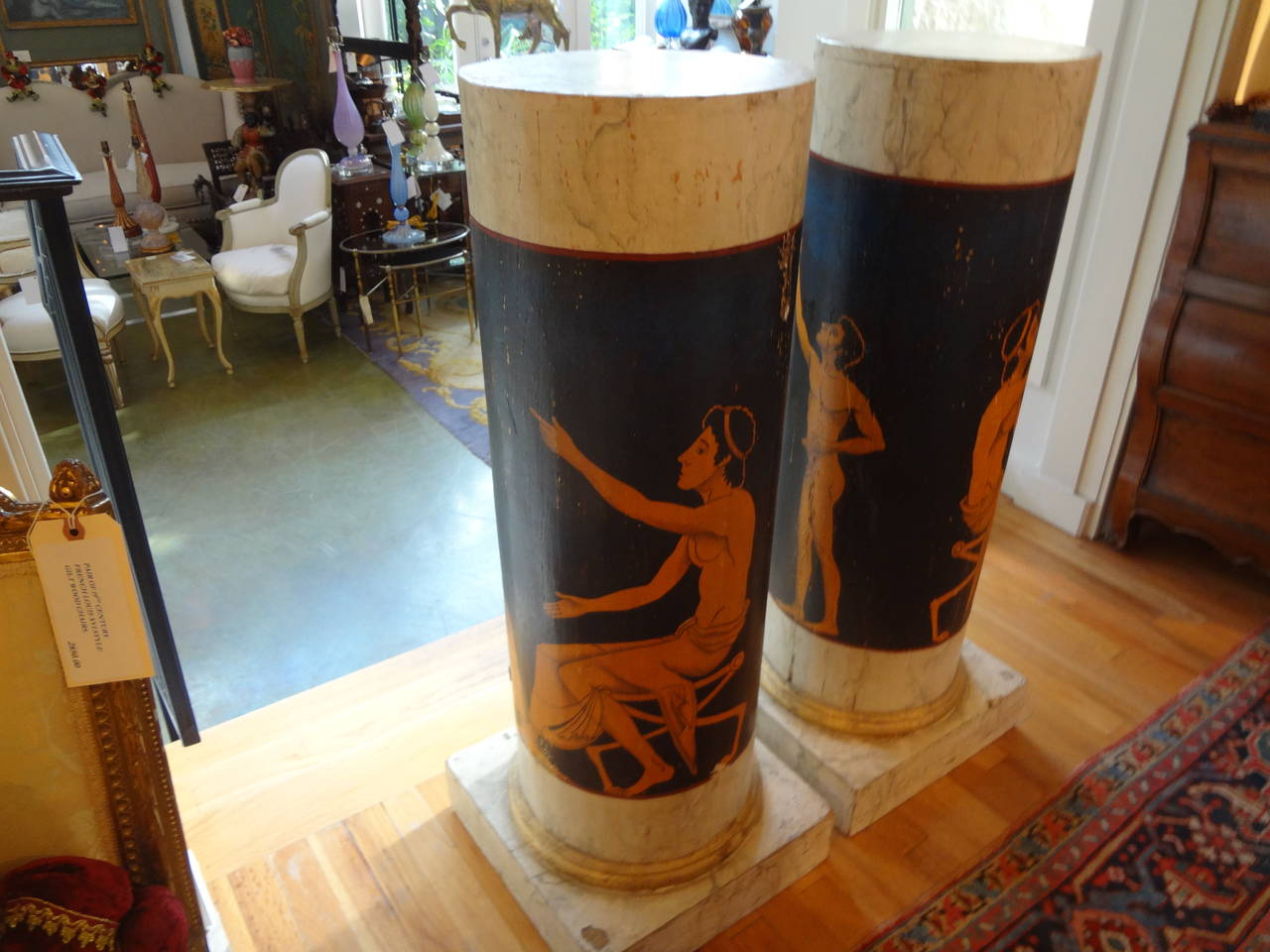20th Century Pair Of Antique Italian Neoclassical Style Painted Column Pedestal Cabinets For Sale