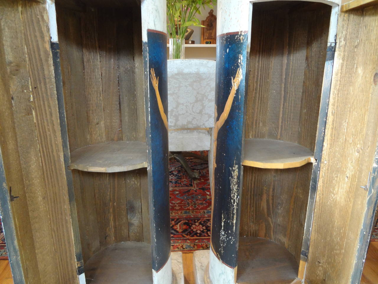 Wood Pair Of Antique Italian Neoclassical Style Painted Column Pedestal Cabinets For Sale