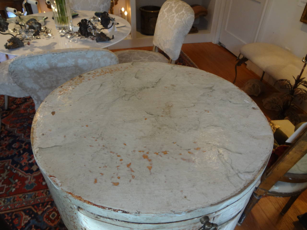 Pair Of Antique Italian Neoclassical Style Painted Column Pedestal Cabinets For Sale 2
