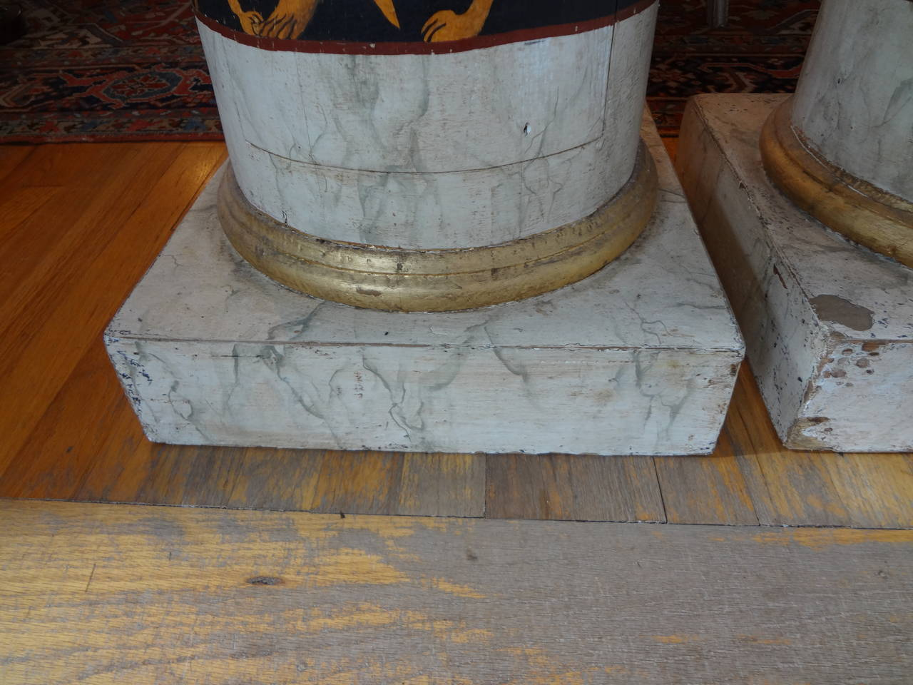 Pair Of Antique Italian Neoclassical Style Painted Column Pedestal Cabinets For Sale 3