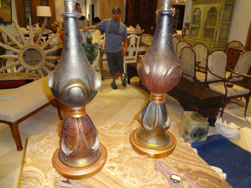 Pair Of Murano Glass Lamps By Seguso In Good Condition For Sale In Houston, TX