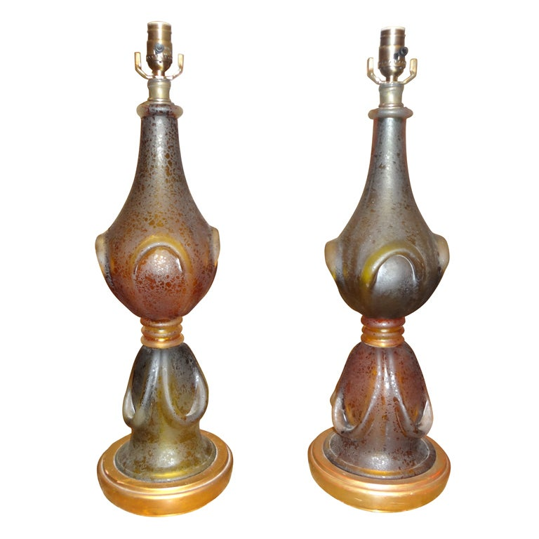 Pair Of Murano Glass Lamps By Seguso For Sale