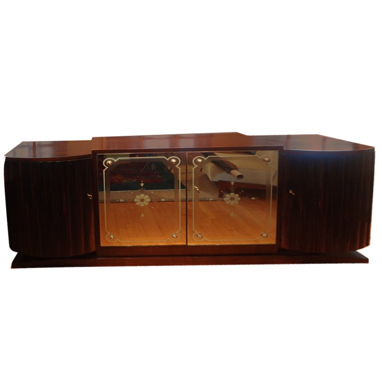 French Art Deco Buffet With Mirrored Doors For Sale