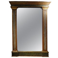 Antique Italian Neoclassical Faux Marble And Gilt Wood Mirror