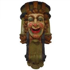 Rare Polychrome Terra Cotta Carnival Clown Head