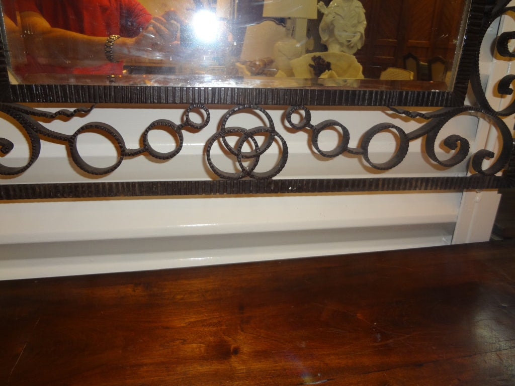 FRENCH ART DECO EDGAR BRANDT INSPIRED WROUGHT IRON MIRROR 2