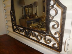FRENCH ART DECO EDGAR BRANDT INSPIRED WROUGHT IRON MIRROR image 4
