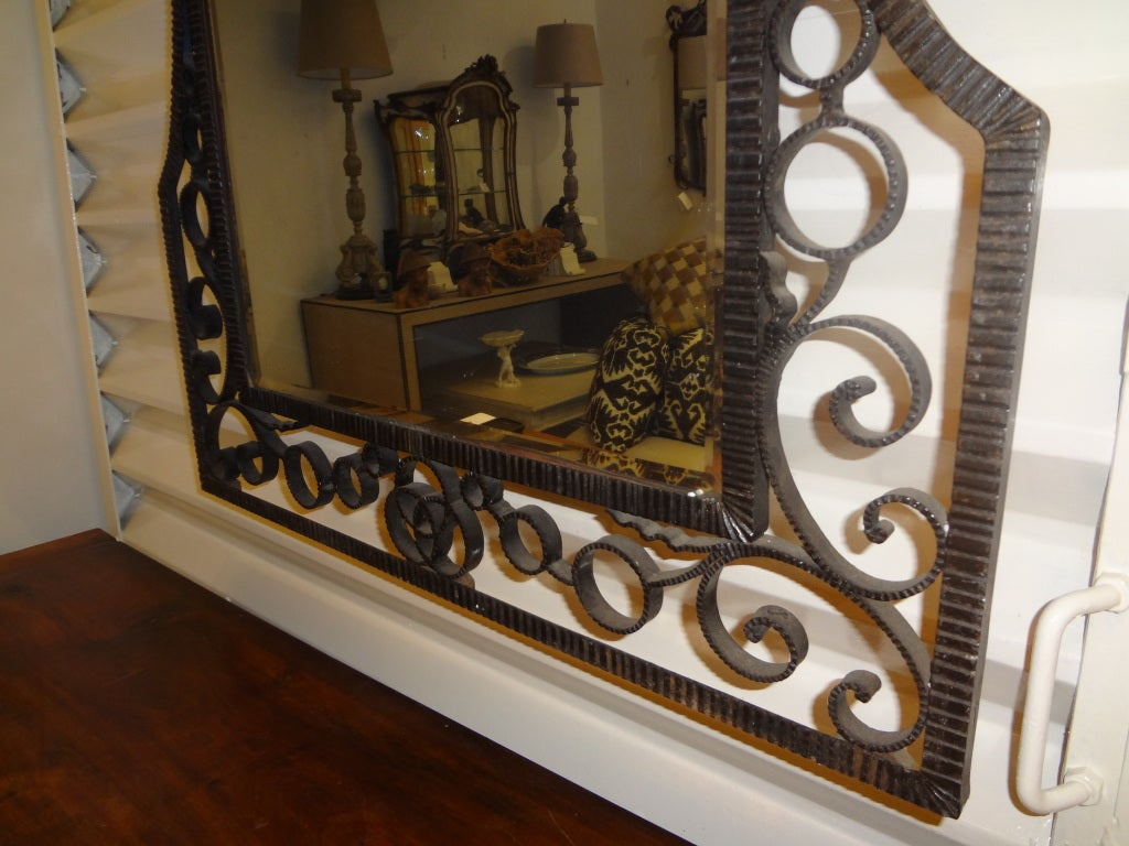 FRENCH ART DECO EDGAR BRANDT INSPIRED WROUGHT IRON MIRROR 4