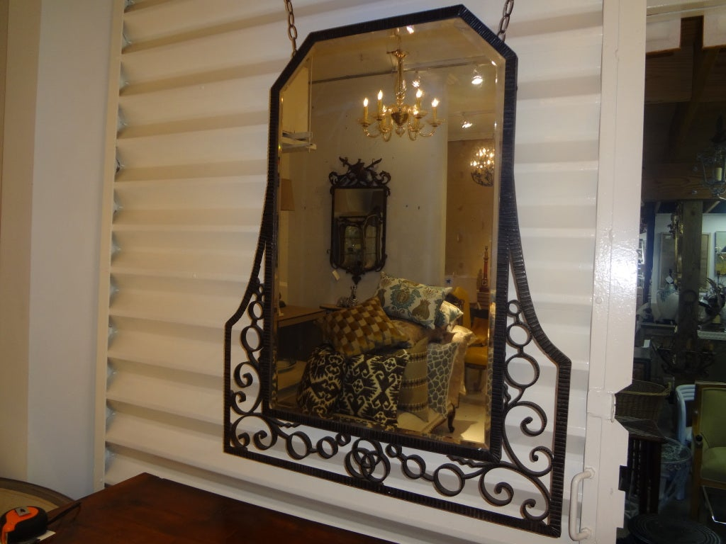 FRENCH ART DECO EDGAR BRANDT INSPIRED WROUGHT IRON MIRROR 5