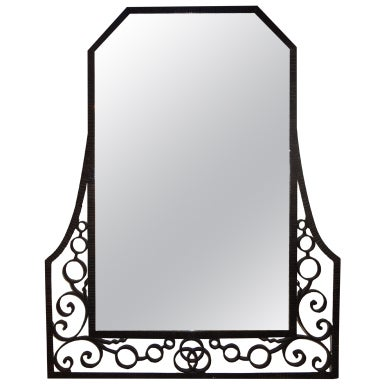 FRENCH ART DECO EDGAR BRANDT INSPIRED WROUGHT IRON MIRROR