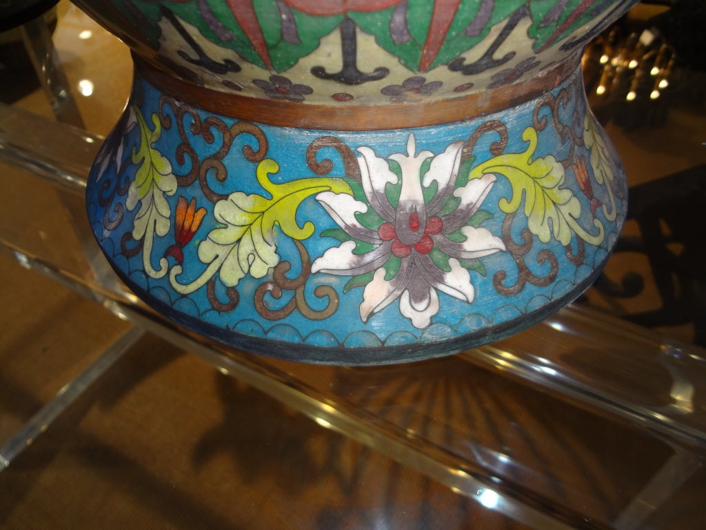 PAIR OF 19TH CENTURY CHINESE CLOISONNE OVER BRONZE VASES image 4