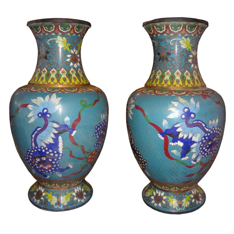PAIR OF 19TH CENTURY CHINESE CLOISONNE OVER BRONZE VASES