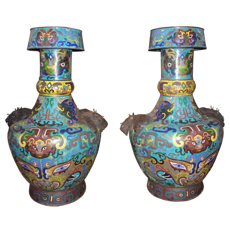 Pair Of Antique Chinese Cloisonne Vases 1