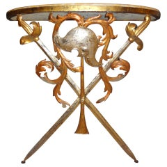 Italian 1940's Wrought Iron And Marble Console Table