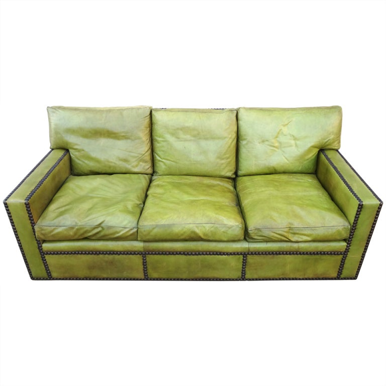 Fabulous 1950s French Leather Sofa after Jean Michel Frank
