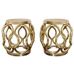 Sculptural Pair of 1970's Brass Lattice Garden Stools