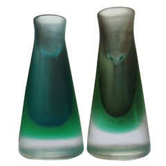 Rare Pair of 1950s Venini Murano Glass Candleholders