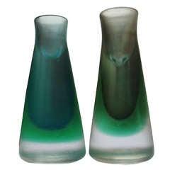 Rare Pair of 1950s Venini Murano Glass Candleholders