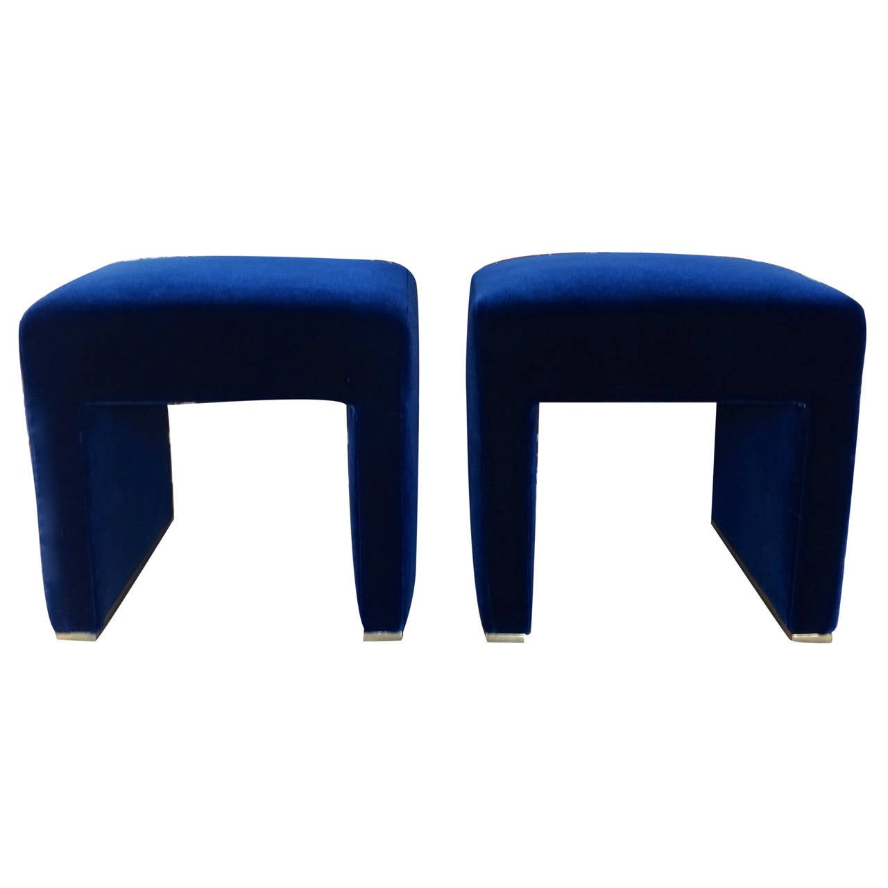 Sleek Pair Of 1970s Sapphire Mohair Covered Benches At 1stdibs