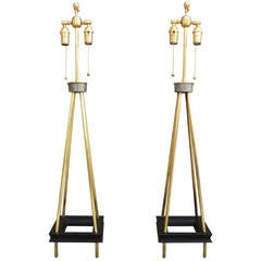 Tall Pair of 1950s Architectural Brass Table Lamps