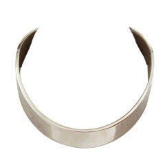 1960's Lanvin Silverplated Runway Choker Necklace