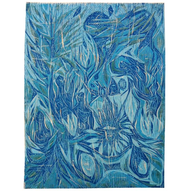 """Large Modernist Woodcut Print, """"Garden Vision"""", Lowell Nesbitt, 1958"""