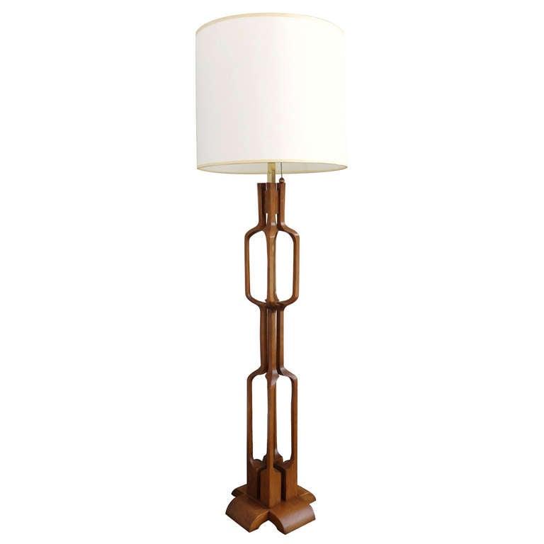 Modern 1950s Sculpted Walnut Floor Lamp