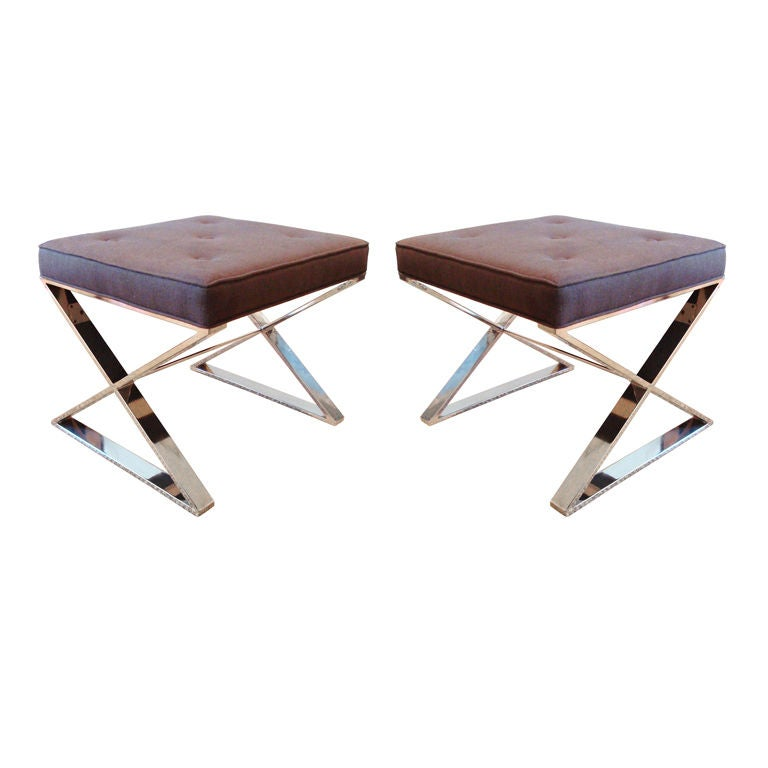Chic Pair Of Milo Baughman Chrome X Base Ottomans At 1stdibs