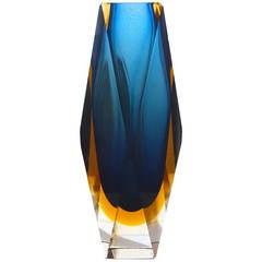 Tall Italian Sommerso Art Glass Vase, 1950s