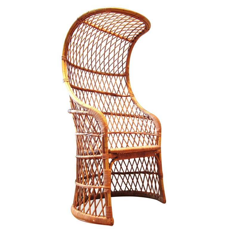 1960 39 s italian woven wicker and rattan canopy chair for Cane and wicker world