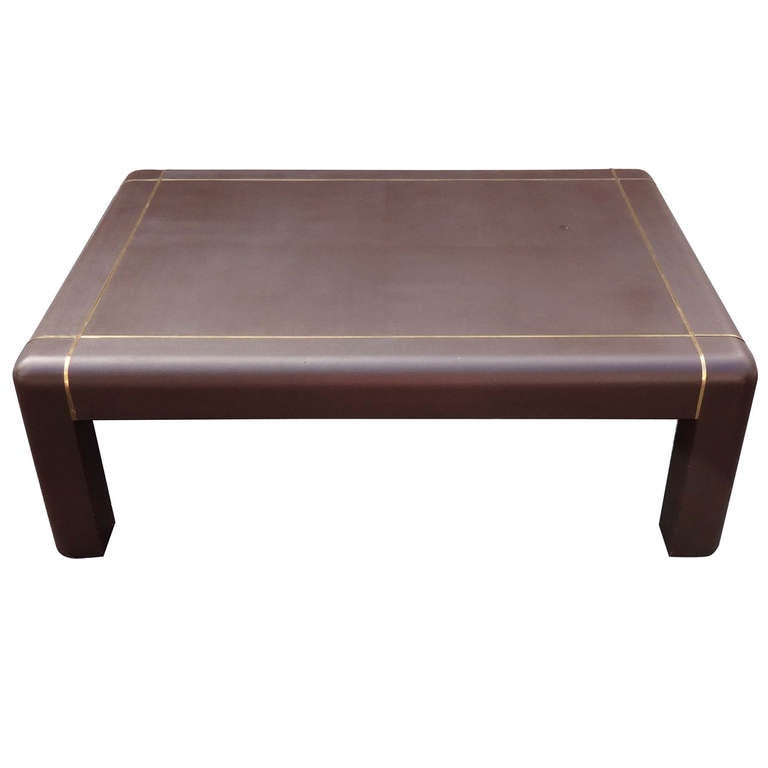 Fabulous 1970 39 S Karl Springer Chocolate Brown Leather Cocktail Table At 1stdibs