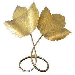 Sculptural 1970s C. Jere Brass Leaf Table Lamp