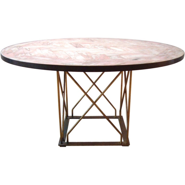 Florentine Marble And Brass Round Cocktail Coffee Table At: 1950's Italian Marble And Brass Cocktail Table At 1stdibs
