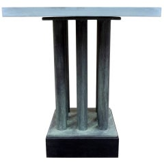 1970's Neoclassical Bronze and Stone End Table
