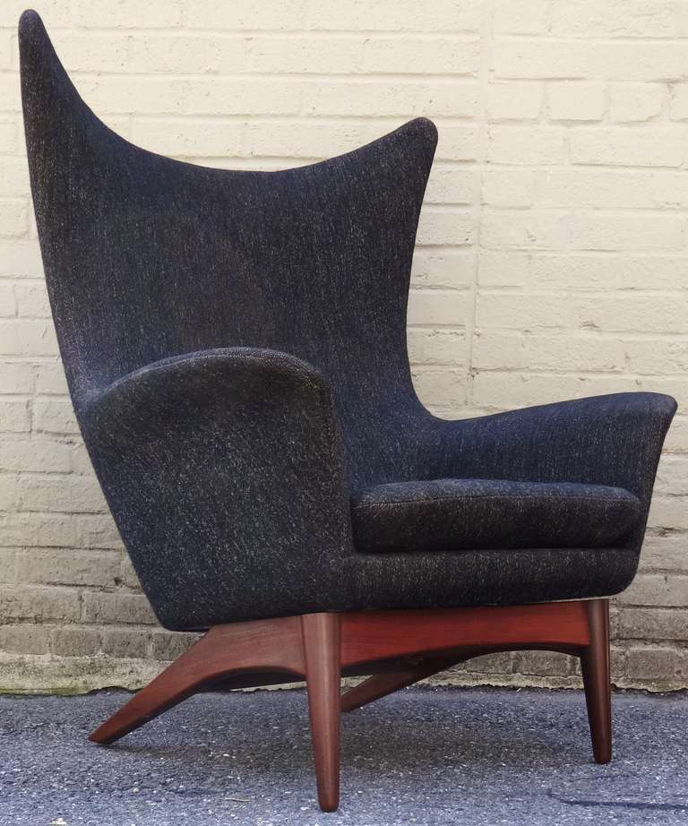 Rare 1950s HW Klein Danish Modern Reclining Wing Chair at 1stdibs