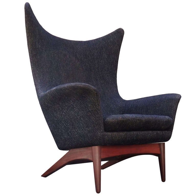 Rare 1950 s H W Klein Danish Modern Reclining Wing Chair at 1stdibs