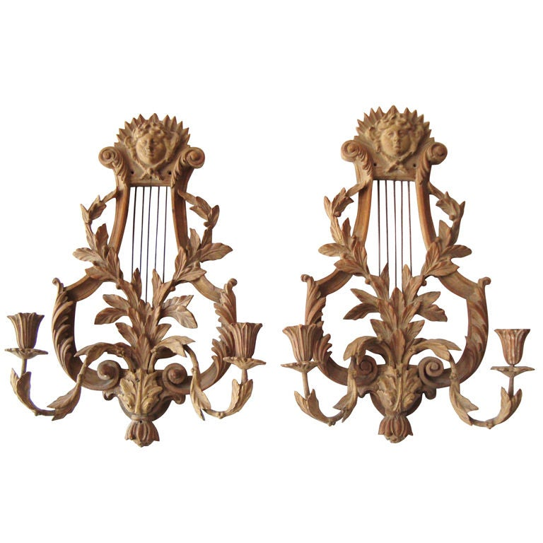 Wall Sconces Italian : Pair of 1920 s Italian Neoclassical Carved Wall Sconces at 1stdibs