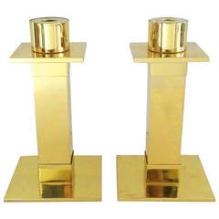 Architectural Pair of 1970s Lorin Marsh Brass Candleholders