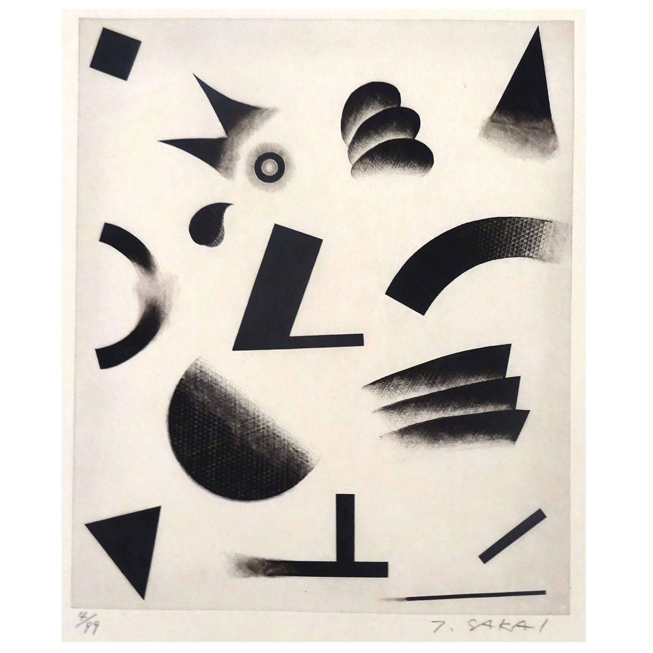 Abstract 1960s T. Sakai Woodblock Print